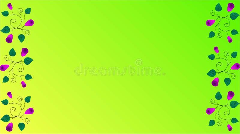 O roxo floresce ondas verdes das folhas em um fundo verde-amarelo ilustração stock