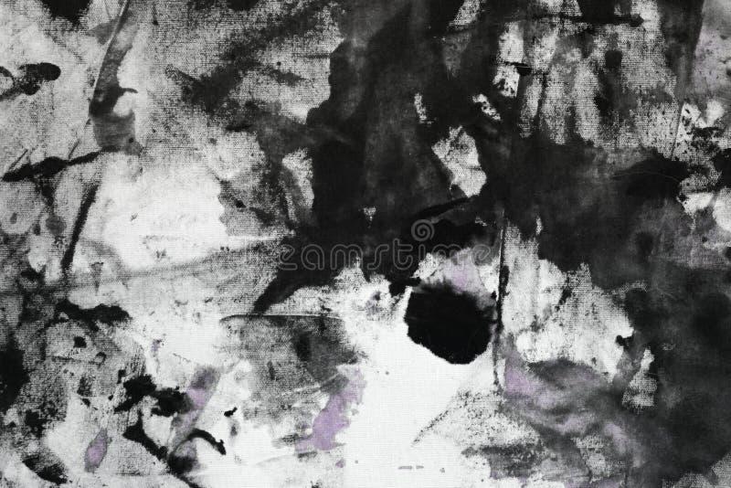 O roxo gasto criativo aleatoriamente pintou a lona, tela com os pontos da pintura da cor e borra a textura para o uso como o fund ilustração stock