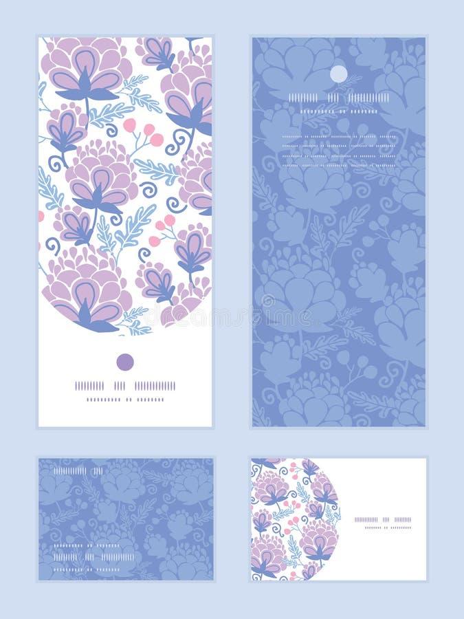 O roxo macio do vetor floresce o teste padrão vertical do quadro ilustração royalty free