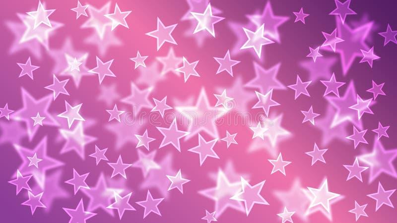 O roxo Stars o papel de parede do fundo de Bokeh ilustração do vetor