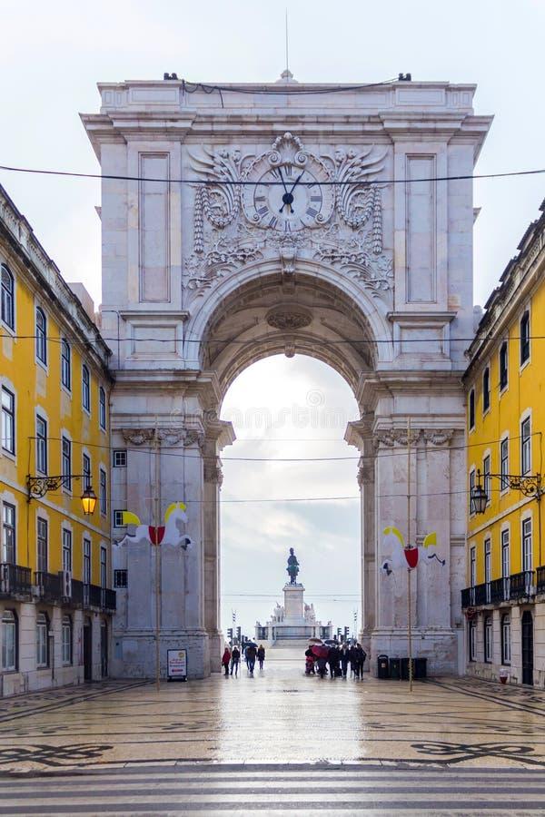 O Rua Augusta Arch em Lisboa, Portugal 1º de dezembro de 2016 foto de stock royalty free