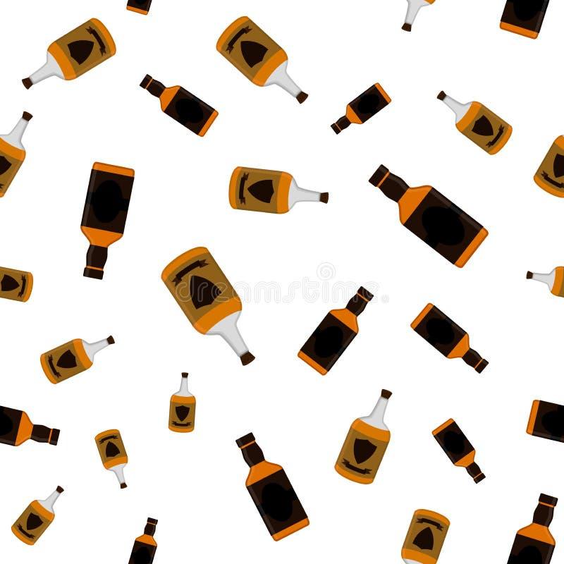 O rum engarrafa o teste padrão sem emenda Projeto liso do estilo da bebida do álcool ilustração royalty free
