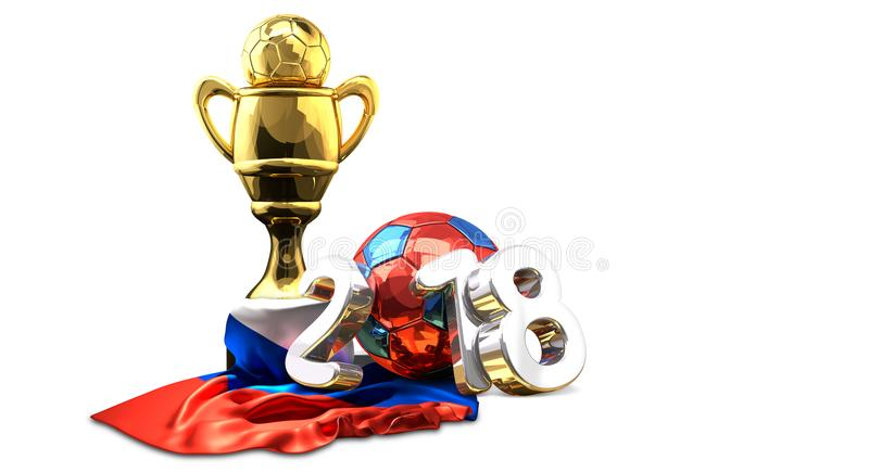 O russo dourado do futebol do futebol do troféu coloriu a rendição 2018 3d ilustração royalty free