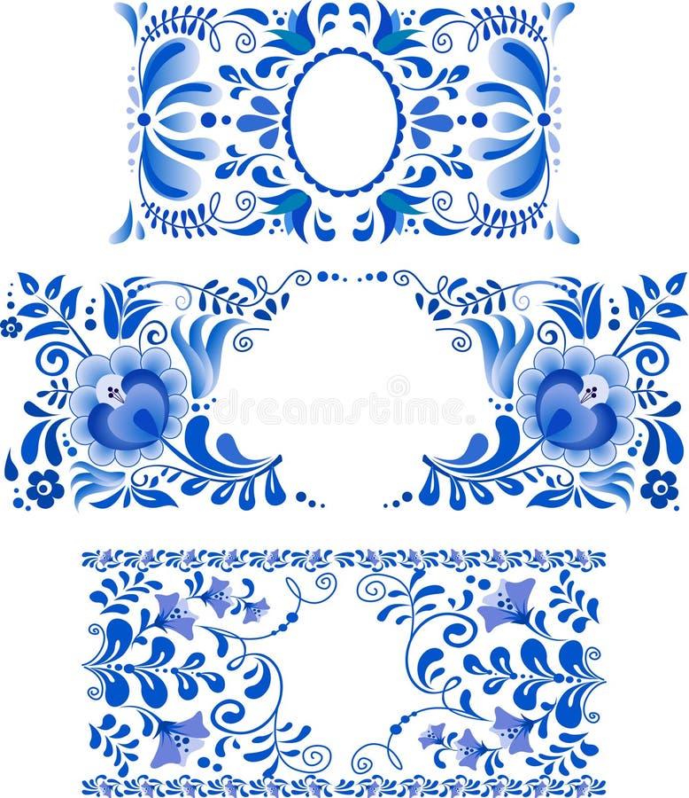 O russo ornaments frames da arte no estilo do gzhel ilustração do vetor