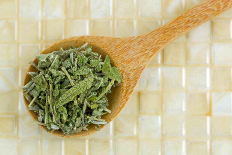 O sábio secado sae para fazer a tisana na colher de madeira, vista superior, foto de stock