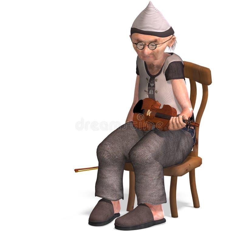O sénior engraçado joga o violino ilustração royalty free