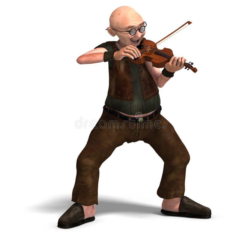 O sénior engraçado joga o violino ilustração do vetor