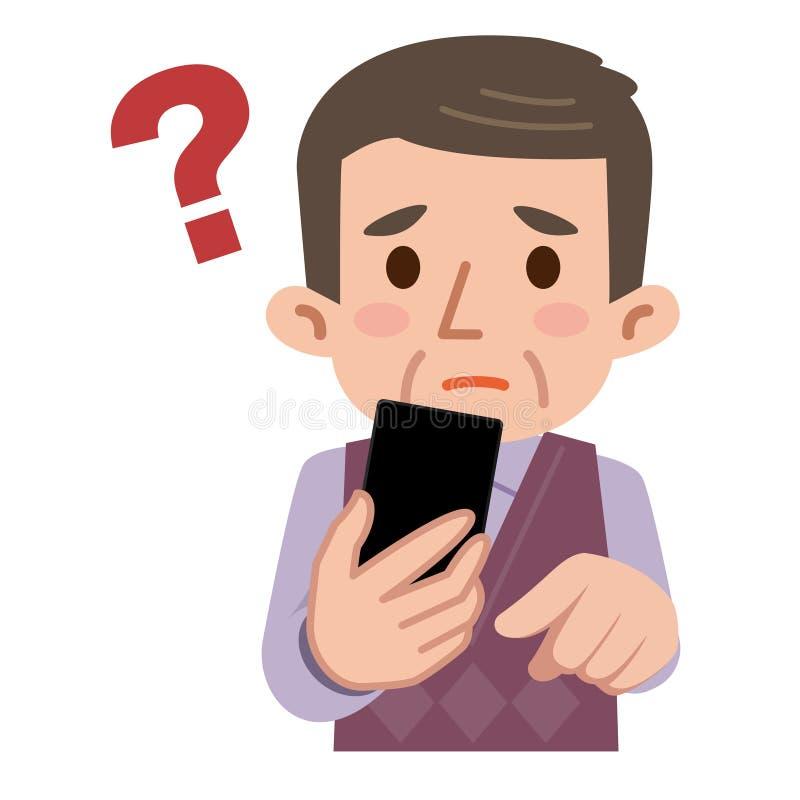 O sênior sofre homens do smartphone ilustração stock