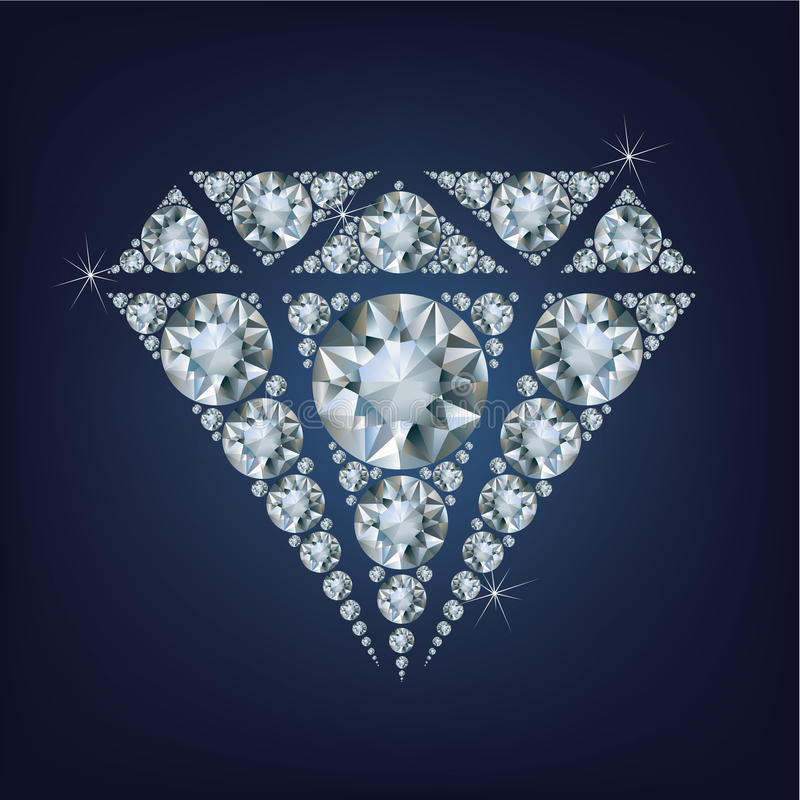 O símbolo brilhante brilhante do diamante fez muitos diamantes ilustração royalty free
