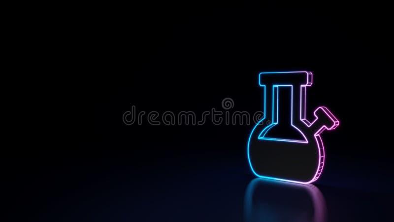 o símbolo 3d de néon de incandescência do símbolo de bong no fundo preto ilustração stock