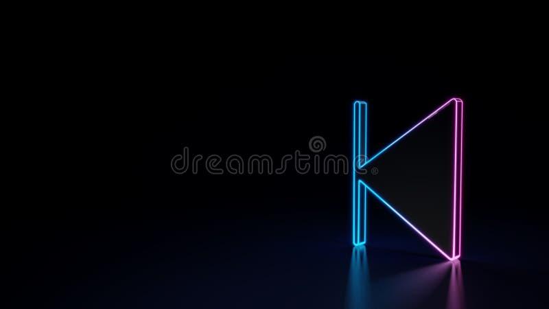 o símbolo 3d de néon de incandescência do símbolo da parada para trás saiu isolado no fundo preto ilustração stock