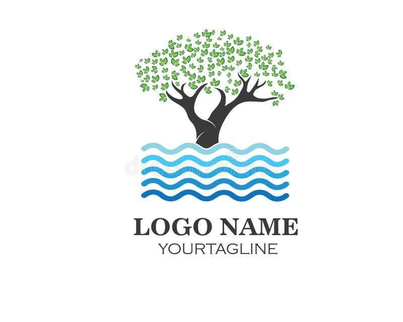 o símbolo da árvore e da água e o ícone de vão natureza verde do eco ilustração do vetor