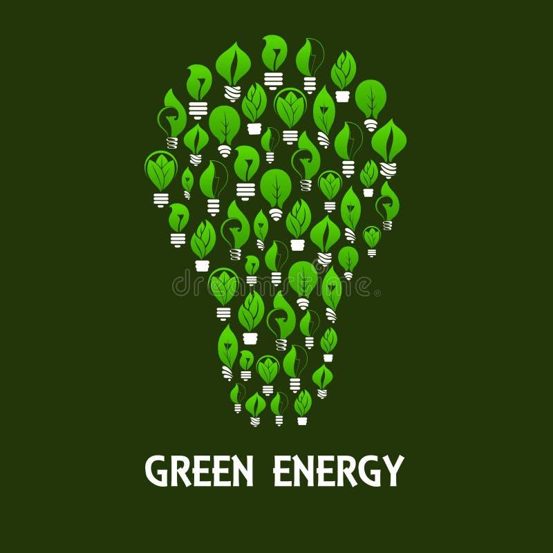 O símbolo da ampola compôs de lâmpadas do eco com as folhas ilustração royalty free