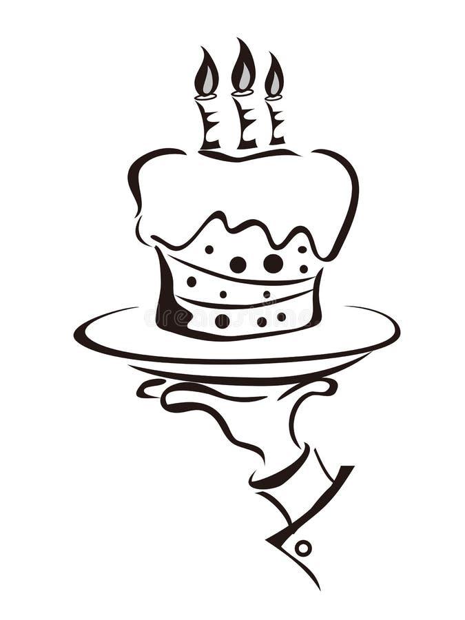 O símbolo da mão da terra arrendada do bolo ilustração royalty free
