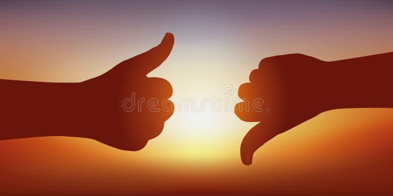 O símbolo da opinião diverge com os polegares acima de expressar seu acordo e os polegares abaixo de expressar seu desacordo ilustração royalty free