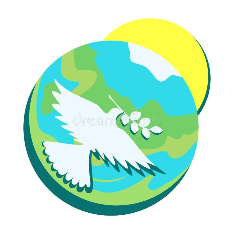 O símbolo da paz, mergulhou com um ramo verde-oliva em seu bico na perspectiva da terra e do sol ilustração do vetor