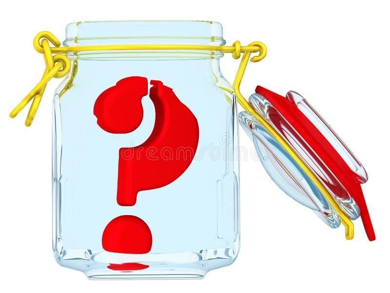 O símbolo da pergunta em um frasco de vidro aberto ilustração stock