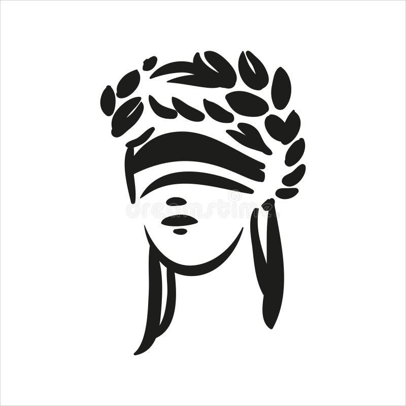O símbolo de assento de justiça Themis enfrenta a linha ilustração do vetor da arte no fundo branco ilustração do vetor