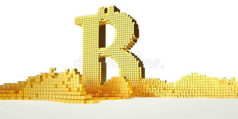 O símbolo de Bitcoin derrete no ouro líquido Trajeto ilustração do vetor