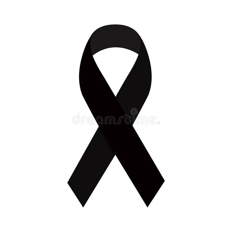 O símbolo de lamentação do preto 3d detalhado realístico do apoio, da campanha da esperança e da memória isolou-se em um fundo br ilustração do vetor