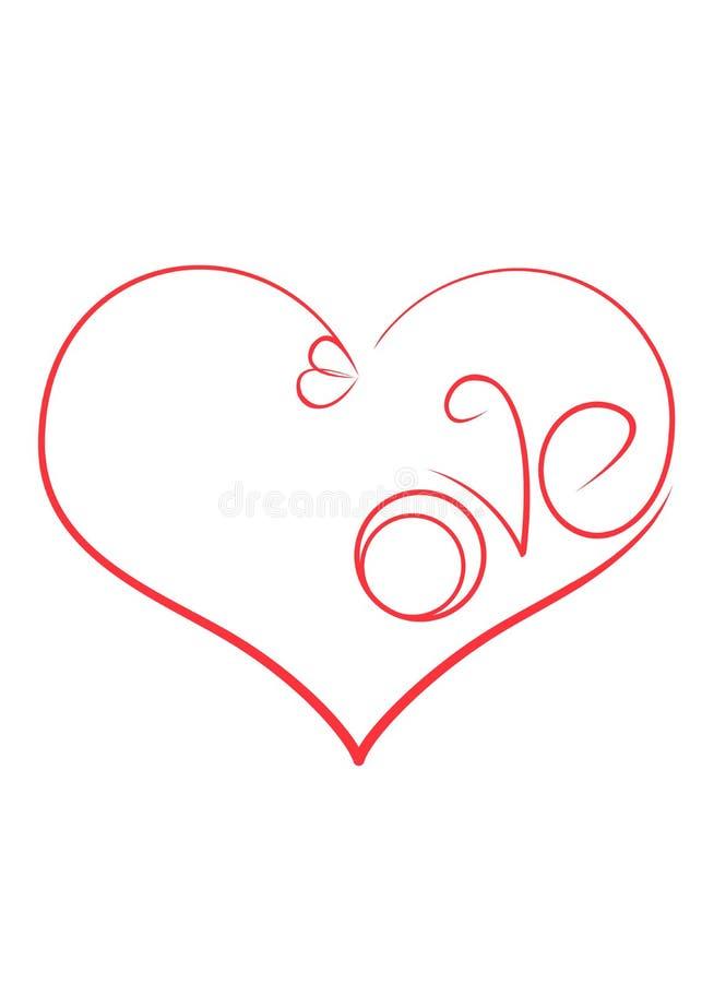 O símbolo do amor é um coração com aneis de noivado e a inscrição foto de stock royalty free