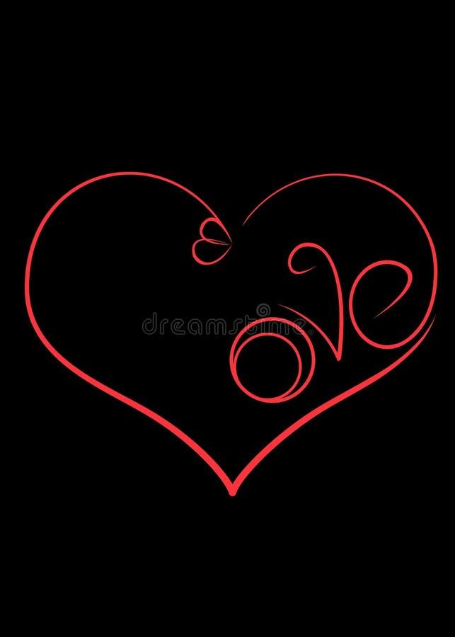 O símbolo do amor é um coração com aneis de noivado e a inscrição fotografia de stock