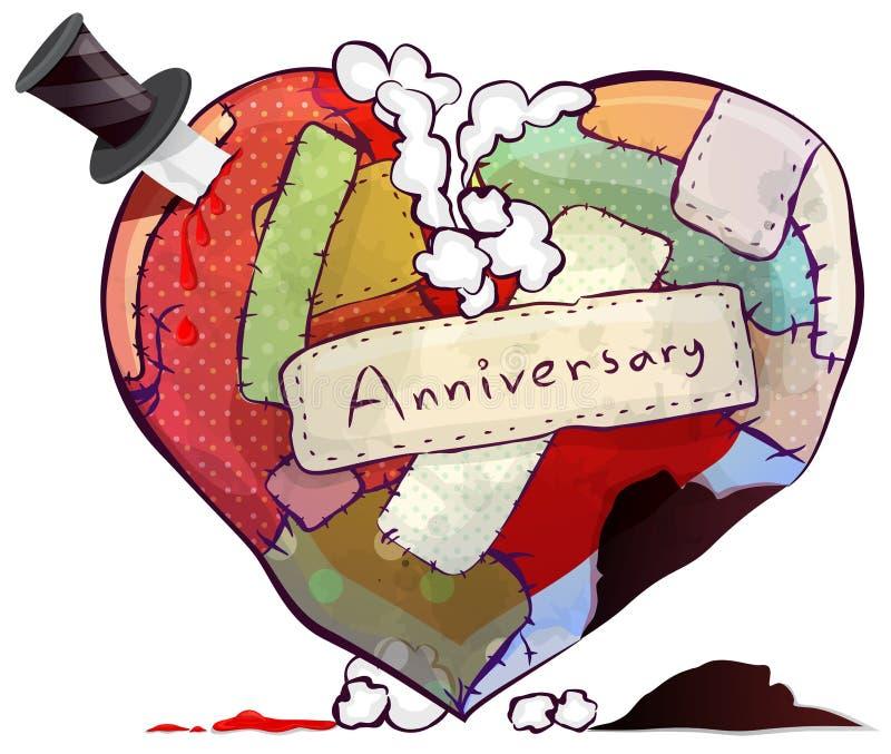O símbolo do coração da boneca ou do descanso do coxim representa o amor eterno ilustração do vetor