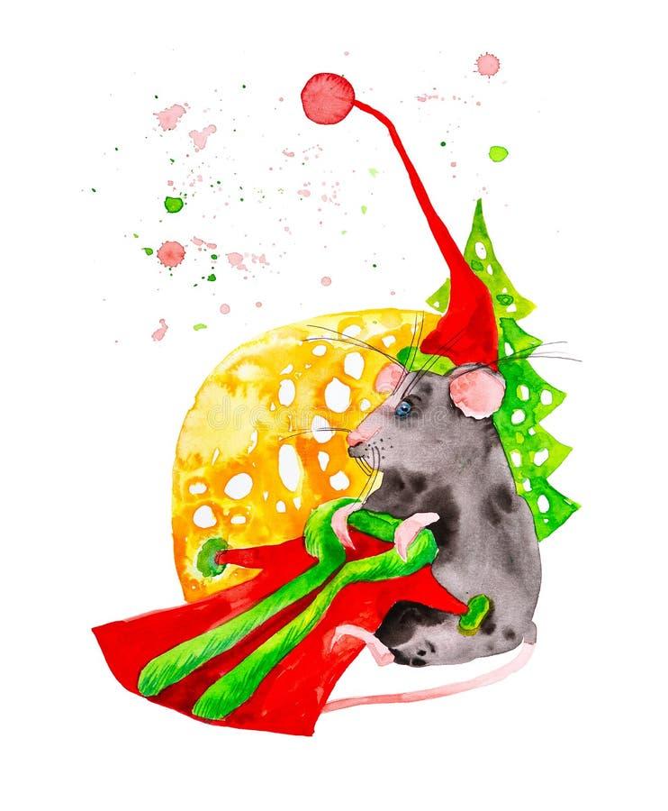 O s?mbolo do rato do ano novo em um tamp?o veste um terno de Santa Claus ao lado de uma grande parte de queijo e de uma ?rvore de ilustração royalty free