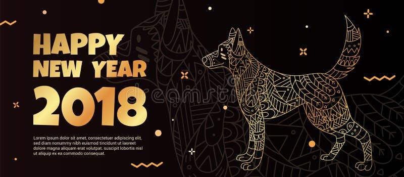 O símbolo do ` s do cão é 2018 ilustração stock