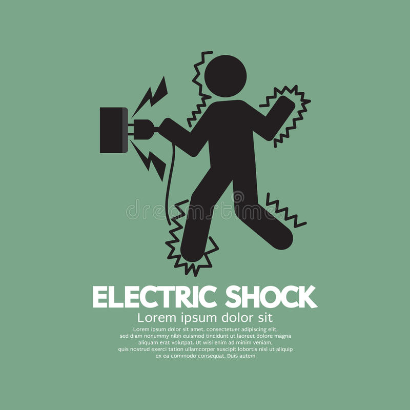 O símbolo gráfico de um homem obtém um choque elétrico ilustração do vetor