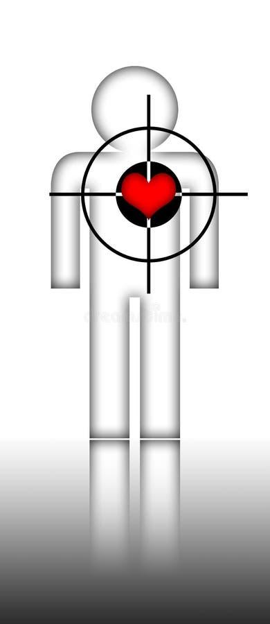 O símbolo humano e o coração vermelho com alvo assinam ilustração do vetor