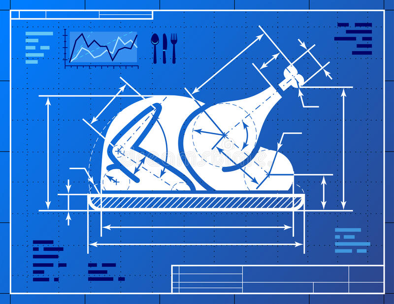 O símbolo inteiro do peru do Natal gosta do drawi do modelo ilustração do vetor