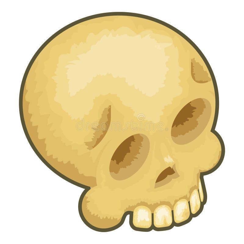 O símbolo isométrico do ícone do crânio isolou a ilustração do vetor do projeto dos desenhos animados 3d ilustração do vetor