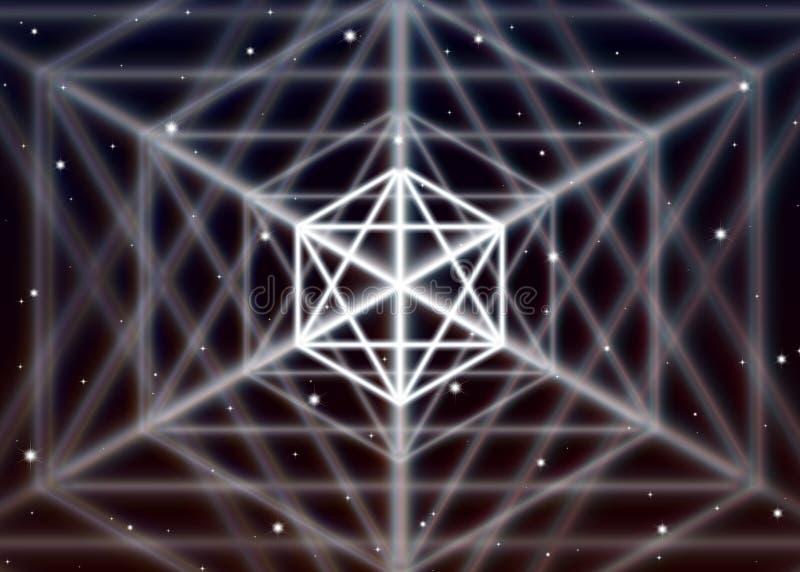 O símbolo mágico do hexágono espalha a energia místico brilhante no espaço espiritual ilustração do vetor