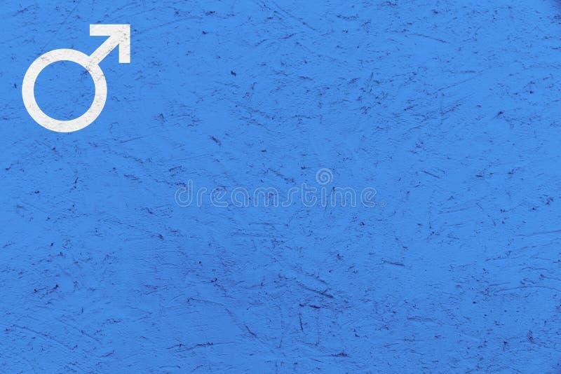 O símbolo masculino Marte do gênero assina sobre o fundo desigual azul da textura imagens de stock royalty free