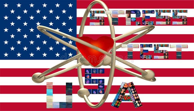 O símbolo nuclear dos EUA do teste de esforço rotula colagens ilustração stock