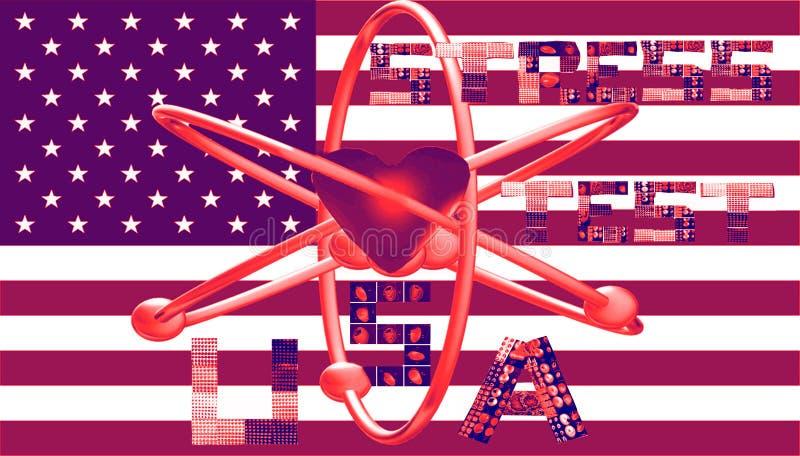 O símbolo nuclear dos EUA do teste de esforço rotula colagens ilustração do vetor