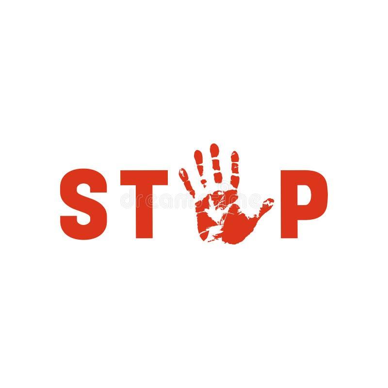 """O símbolo ou o sinal param a corrupção O selo vermelho com texto """"para a corrupção"""" sobre a corrupção da mão preta Ícone liso Vet ilustração royalty free"""