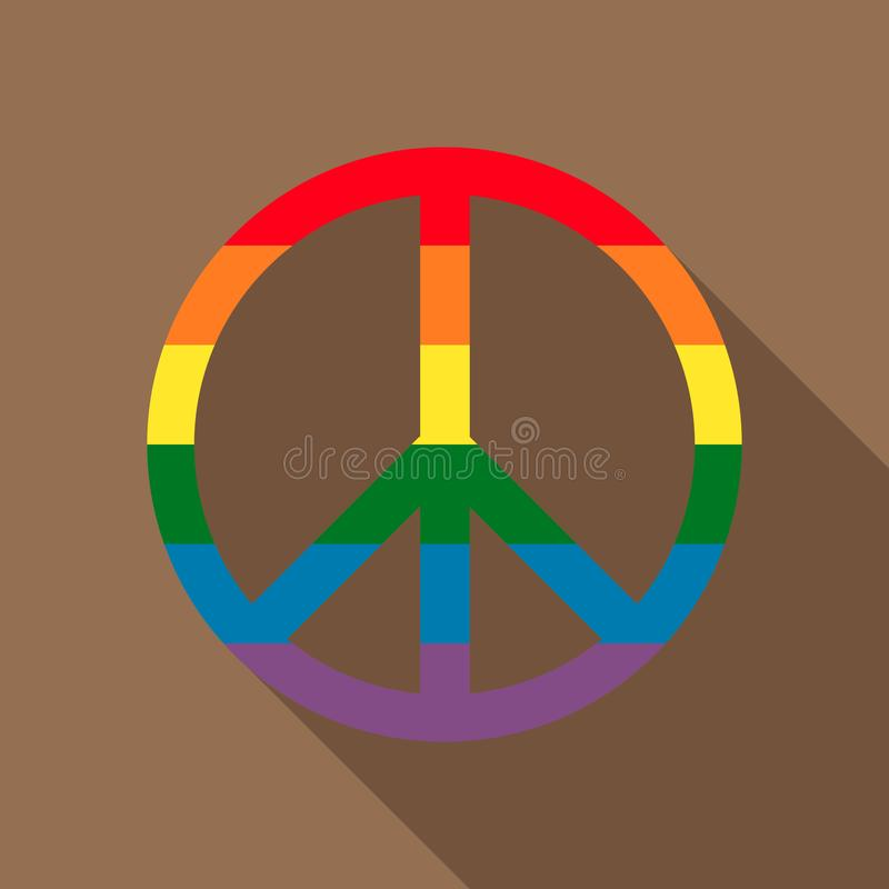 O símbolo pacífico no arco-íris colore o ícone, estilo liso ilustração stock