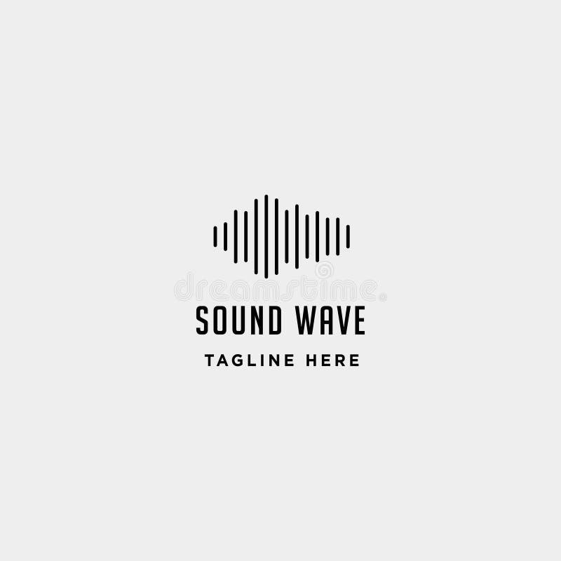 o símbolo simples do sinal do ícone da música audio sadia do vetor do logotipo da onda isolou-se ilustração stock