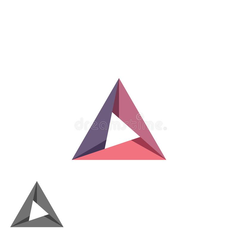 O símbolo simples geométrico da forma da tecnologia do modelo do logotipo do triângulo, criativo convirge emblema do cartão da id ilustração do vetor