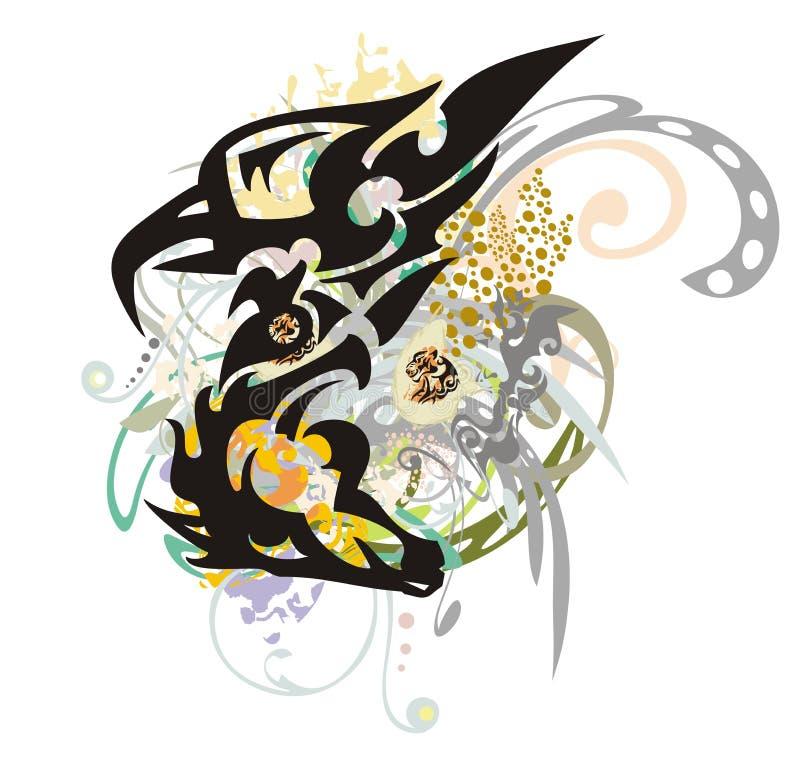 O símbolo tribal do Eagle-cavalo espirra ilustração stock