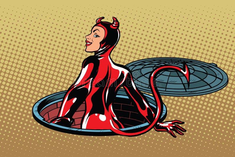 O súcubo da menina do diabo vermelho emerge do inferno ilustração do vetor