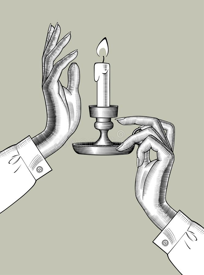 O ` s da mulher entrega guardar um castiçal com vela ardente ilustração do vetor