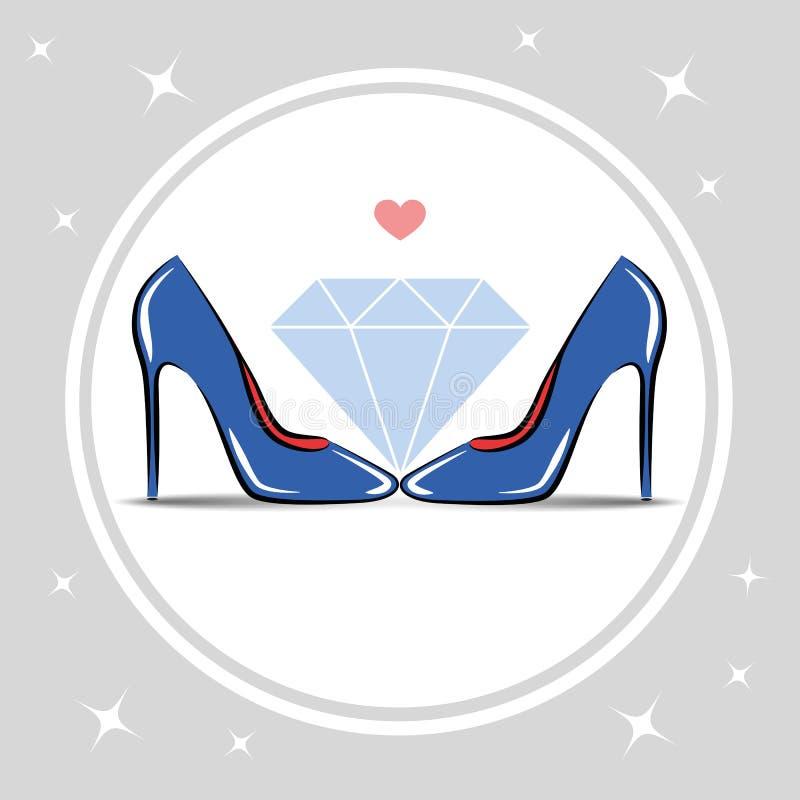 O ` s das mulheres calça o diamante da forma do salto alto ilustração royalty free