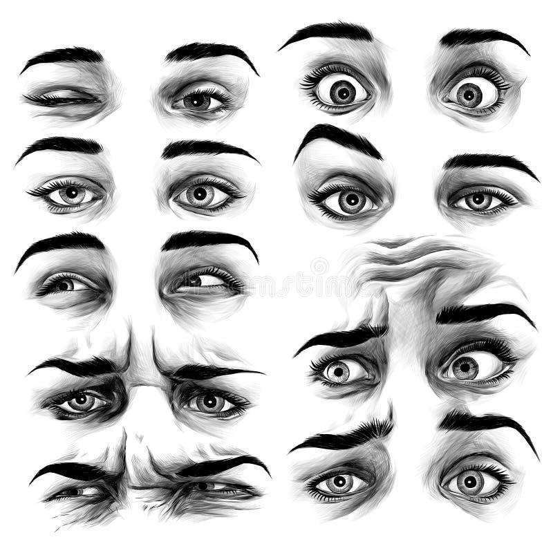 O ` s das mulheres eyes o gráfico de vetor do esboço ilustração stock