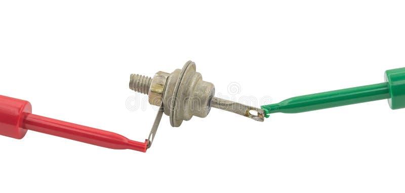 O ` s do eletricista sonda o diodo do poder dos testes imagens de stock royalty free
