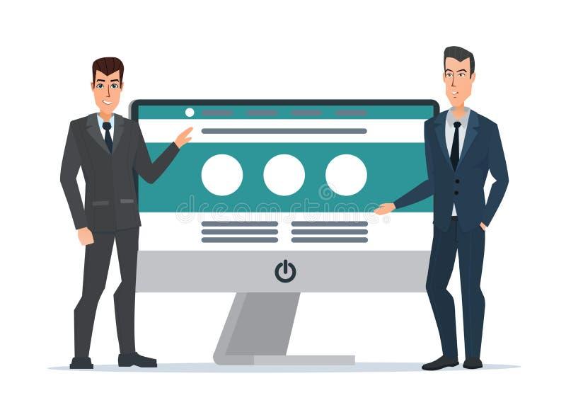 O ` s do homem de negócios apresenta o Web site Desenvolvimento do tela de computador ilustração stock