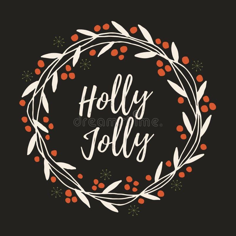 O ` s do Natal e do ano novo envolve-se fora dos galhos, das folhas e das bagas vermelhas ilustração stock