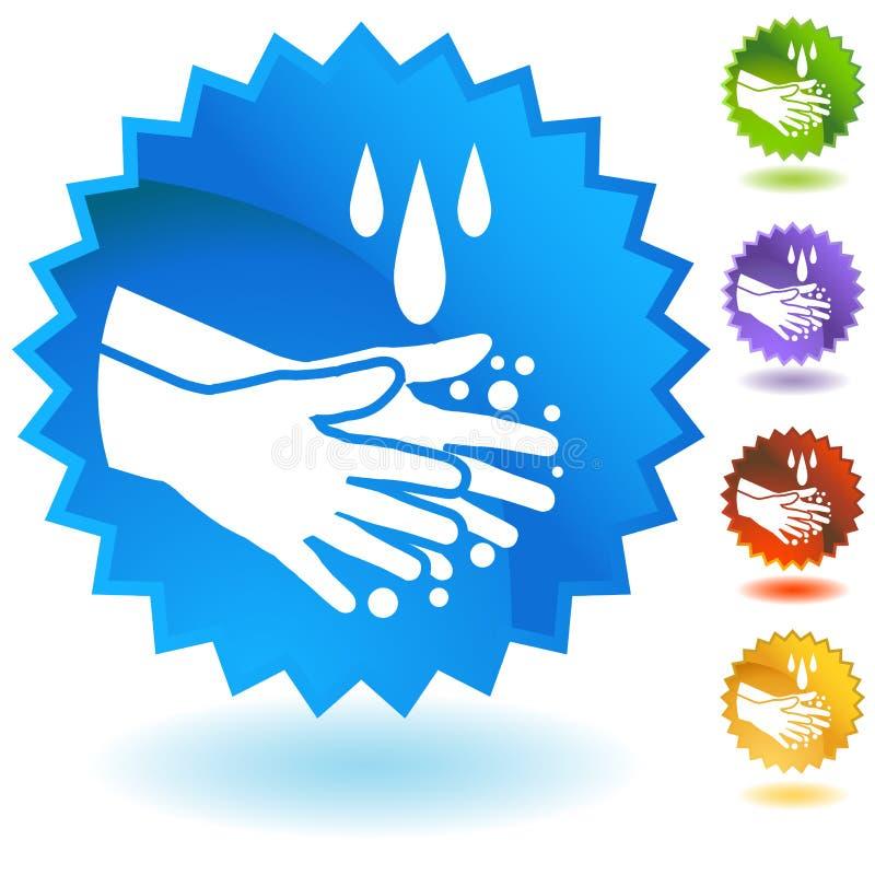 O sabão Handwashing Cleanng entrega o botão ilustração royalty free